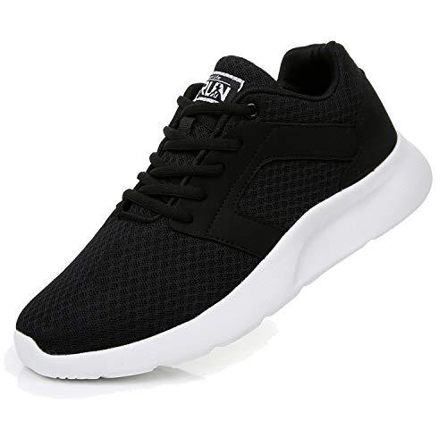 Fexkean Herren Damen Laufschuhe Sportschuhe Outdoor Straßenlaufschuhe Atmungsaktiv Leichtgewicht Joggingschuhe Fitness Walkingschuhe (8996 Black/White 45)