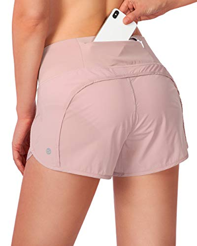 G Gradual Women's Running Shorts with Mesh Liner 3' Workout Athletic Shorts for Women with Phone Pockets (Pink, Medium)