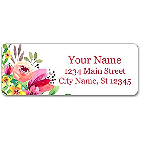 Return Address Label RA1048 Charming Floral Address Stickers Personalized with Your Choice of Fonts