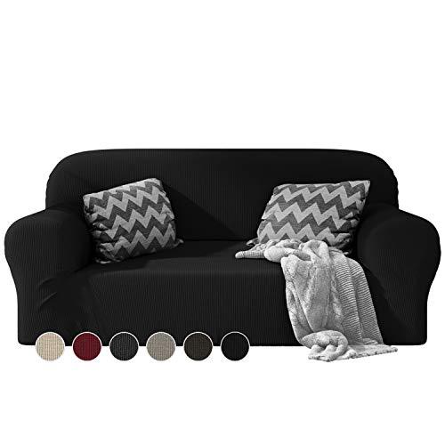 Dreamzie - Sofabezug 2 Sitzer Elastische - Schwarz - Oeko-TEX® - Sofa Überzug Dehnbarer aus Recycelter Baumwolle - Made in Europe