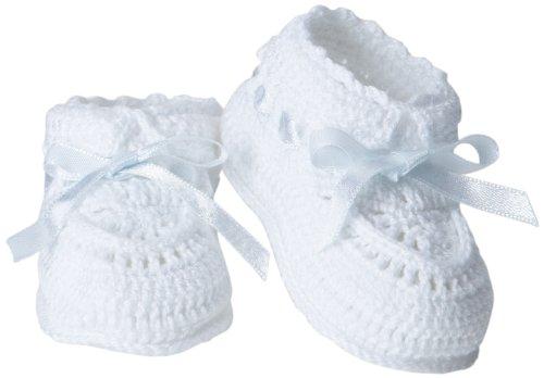 Jefferies Socks Baby Girls' Hand Crochet Bootie, White/Blue, Newborn