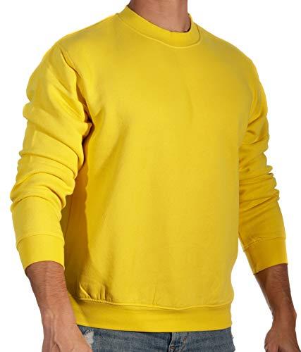 13MW Sudadera Básica Hombre | Estilo Clásico | Algodón | Cuello Redondo (Amarillo, XL)