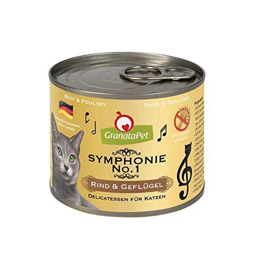 GranataPet Symphonie No. 1 Rind & Geflügel, Katzenfutter ohne Getreide & Zuckerzusätze, Filet in natürlichem Gelee, delikates Nassfutter für Katzen, 6 x 200 g weiß, 185431