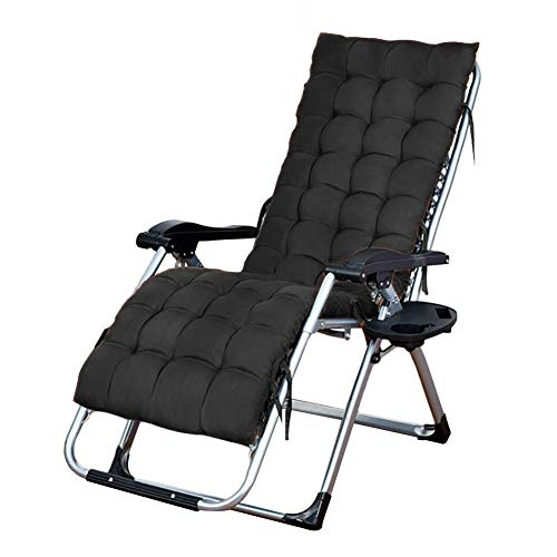 Folding garden daybed Recliner garden chair Solarium Zero gravity garden deck chairs Outdoor garden chairs for beach Portable chairs with cushions Cup holder (color: black, dimensions: stand 200 kg)