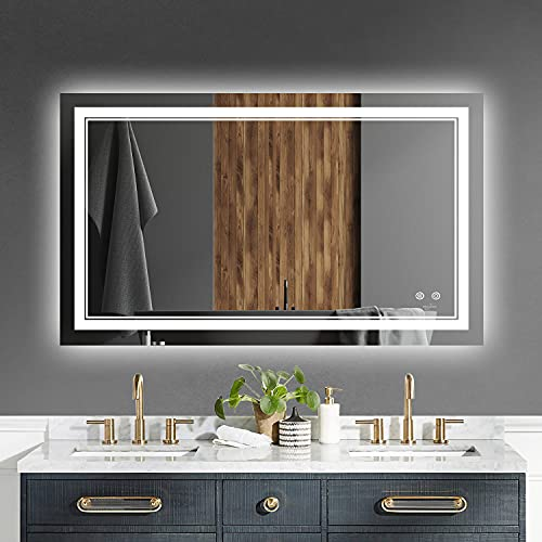 """LED Bathroom Vanity Mirror for Wall - 40"""" x 24"""" Adjustable Smart LED Light Anti-Fog Touch Switch Wall Mounted Makeup Mirror with Memory 6500k high Lumen Lights"""