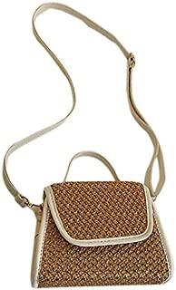 Sturdy Straw Small Handbag Shoulder Slung Handbag Summer Small Square Handbag Large Capacity (Color : Light Brown)