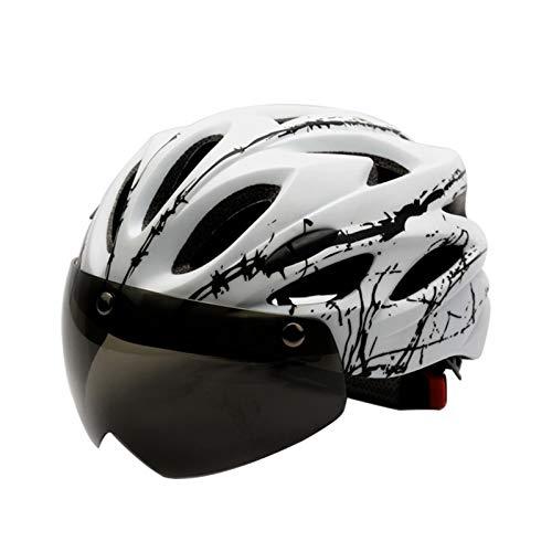 Zeroall Casco de Bicicleta Ligero para Hombre Mujer 56-62cm Tamaño Ajustable Casco de Ciclo con Gafas Magnéticas Desmontable Cascos de Ciclismo para Bicicleta Patineta Scooter(Blanco)