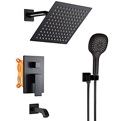 POP Bathtub Shower Faucet Set Matte Black Shower System with Tub Spout 8 Inch Wall Mounted Bathroom Rainfall Shower Head Set with Handheld Shower Combo Set (Contain Rough-in Valve Body and Trim)