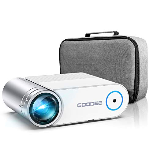 Projector, GooDee 2021 G500 Video Projector 5500L, 1080P and 200' Supported Portable Movie Projector with 50,000 Hrs Lamp Life, Home Theater Projector Compatible with TV Stick, HDMI, Phone (YG420)