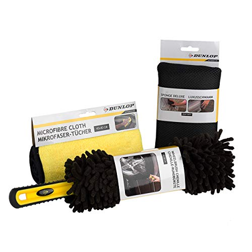 Dunlop® 3-teiliges Felgenbürsten-Set - Felgenbürste für Alufelgen - extra weich - Felgen Bürste - effektive Reinigung - Felgenreinigungsbürste