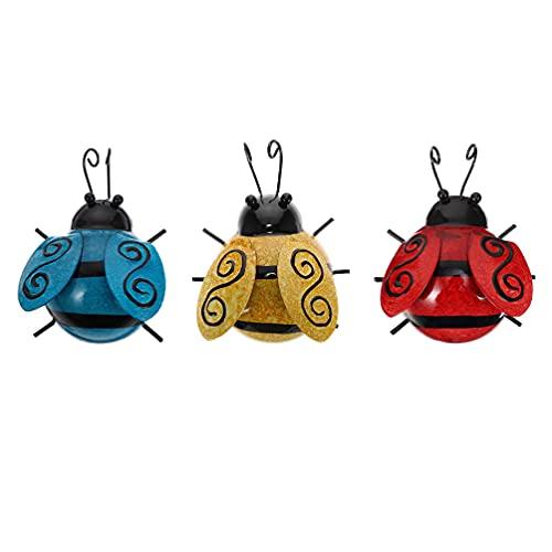 STOBOK 3 Piezas Ladybugs Metal Wall Art 3D Cute Mariquita Pared Escultura Insectos Colgante Pared Arte Colgador para Interior Exterior Jardín Casa Valla Decoración Rojo Amarillo Azul