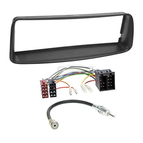 Carmedio Peugeot 206 98-07 1-DIN Autoradio Einbauset in original Plug&Play Qualität mit Antennenadapter Radioanschlusskabel Zubehör und Radioblende Einbaurahmen schwarz