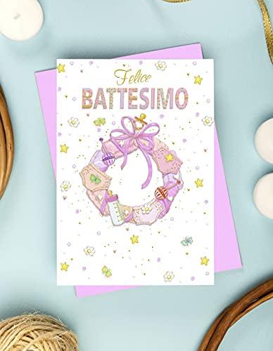 Tarjeta 'Felice Bautimo' - Impresión offset (Slip Rosa)