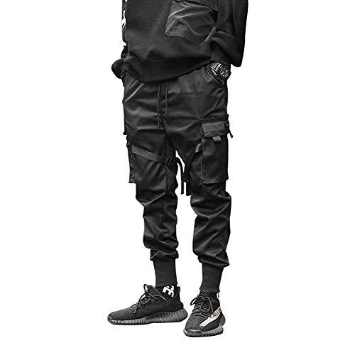 HONIEE Men's Hiphop Punk Jogger Sport Harem Pants Cargo Pants (Black#1, Waistline:33-35)…