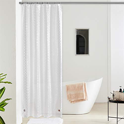 Furlinic Duschvorhang Anti-schimmel Wasserdicht Transparent Badvorhang aus Eva 120x200cm 3D Effekt Rhombus mit 8 Duschvorhangringen Saum mit Steinen.
