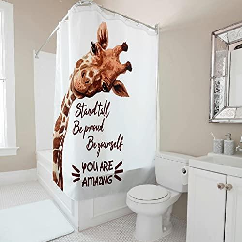 Gamoii Aufrecht Stehen Stolz Sein Sei du selbst Giraffe Duschvorhang Bad Vorhang 3D Digital Badezimmer Vorhang Bad Dekor Duschvorhänge mit Vorhanghaken White 91x180cm