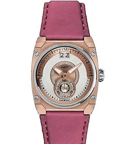 Savoy Damen Analog Quarz Icon Petite Armbanduhr 15 Diamanten IP Rose Gold Rosa Lederband
