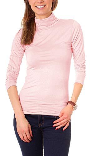 Easy Young Fashion Basic Damen Rollkragen Jersey Shirt Unterzieher Longsleeve Enganliegend Langarm Einfarbig One Size Hellrosa