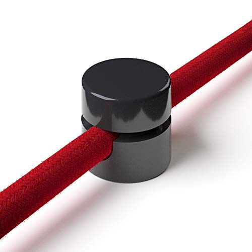 1x Stück - Zweiteilige Affenschaukel für Textilkabel, Aufputz-Kabelhalter für Lampe, Schwarz