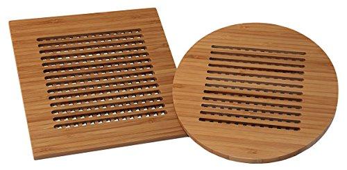 Totally Bamboo BA206626 Set de 2 dessous de plat en bambou 20 x 20 cm et Ø20 cm