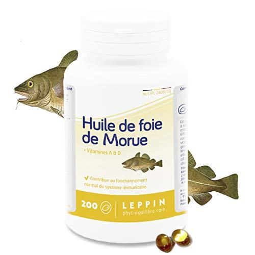 Leppin–Olio di Fegato di Merluzzo 200capsule unte–Omega 3+ vitamnies a e d–Certificato senza metalli pesanti–Integratori alimentari naturali