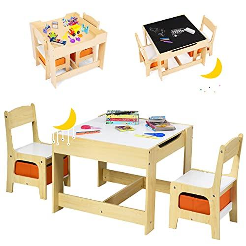 RELAX4LIFE 3 in 1 Kindersitzgruppe, 3 TLG. Kindermöbel Set, Maltisch mit Abnehmbarer Tischplatte, Kindertisch mit 2 Stühlen & 2 Aufbewahrungskörben, Kinder Sitzgruppe für Kinderzimmer & Kindergarten