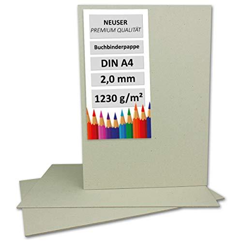 10 Stück Buchbinderpappe DIN A4 - Stärke 2,0 mm (0,20 cm) - Grammatur: 1230 g/m² - Format: 29,7 x 21 cm - Farbe: Grau-Braun