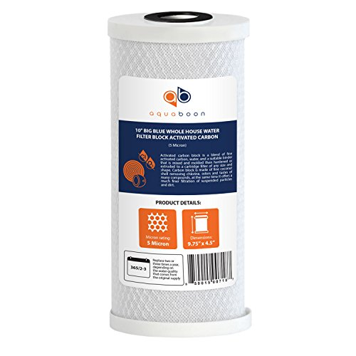 Aquaboon Big Blue Coconut Shell Water Filter Cartridge | Activated Carbon Block CTO | Universal Whole House 5 Micron 10 inch Cartridge | Compatible with WFHDC8001, CB-BB-10, EPM, EP-BB 1-Pack