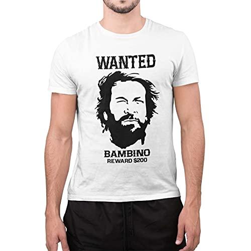 CHEMAGLIETTE! T-Shirt Divertente Uomo con Stampa Film Vintage Lo Chiamavano Trinita Bud Spencer Wanted Bambino, Bianco, XL