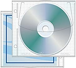 """Jewelpak CD/DVD Page with Graphic Pocket, 5.625"""" x 5"""", 3.13 Hole Spacing - Pack of 100"""