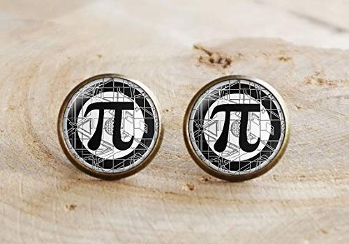 Math PI Stud Earrings,Pi Symbol Earrings,Pi Sign Eyes Earrings,Mathematical Jewelry, Mathematics Earrings,Pi Jewelry