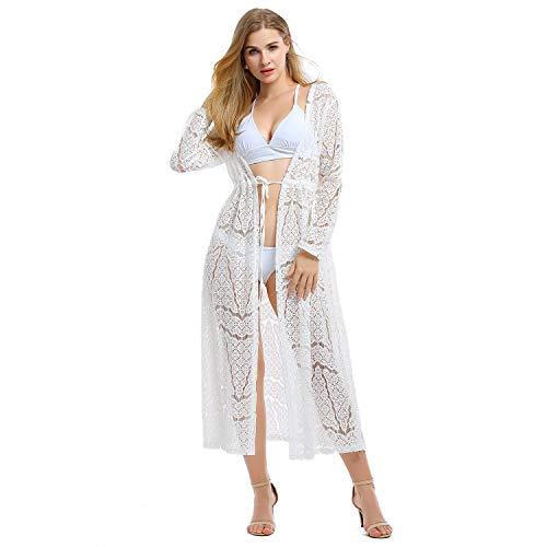 Tyidalin Damen Spitzen Cardigan Sommer Crochet Strandkleid Maxi Lang Pareo Elegant Bikini Cover ups