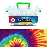 QBIX Tie Dye Kit - 15 tintes de tela de colores brillantes, juego de tinte permanente de un solo paso para niños, adultos, bricolaje de moda (contiene 15 botellas de tinte y 15 paquetes de tinte)