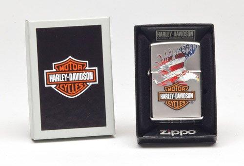 New Zippo Harley-Davidson Flag Eagle, High Polish Chrome 28082