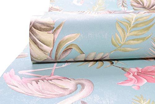 Azul marino/verde azulado verde floral rosa flamenco papel pintado flor pájaro papel de pared para niñas dormitorio niños habitación decoración de la pared 10mx53cm-verde azulado_verde
