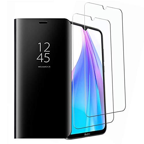 Dedux Funda Xiaomi Redmi Note 8T + [2 Pack] Protector de Pantalla - Modelo Inteligente Fecha/Hora Ver Espejo Brillante tirón del Caso Duro con para el Xiaomi Redmi Note 8T, Negro