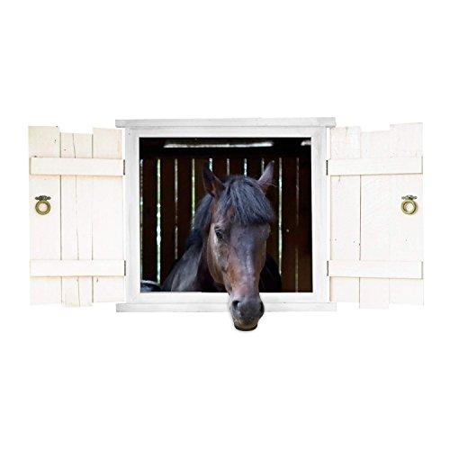 nikima - 126 Wandtattoo Pferd Schwarz Pferdekopf im Fenster mit Fensterläden - in 6 Größen - Wunderschöne Kinderzimmer Sticker Aufkleber Bezaubernde Wanddeko Wandbild Mädchen - Größe 1000 x 500 mm