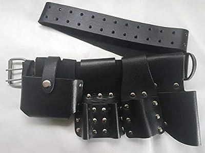 Heavy Duty Scaffolding Black Leather Tool Belt Professional Quality 5IN1