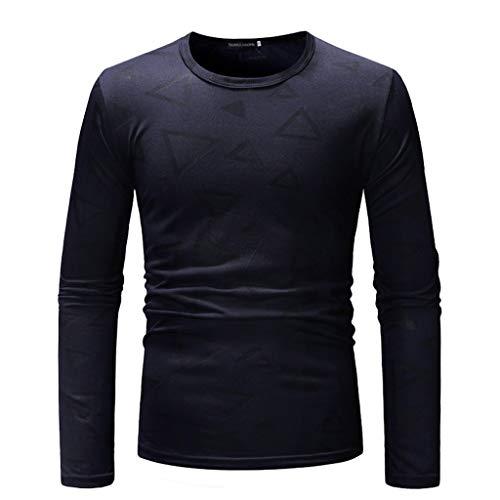 DNOQN Sport Poloshirt Herren Mode Herren Nadel Zeigen Herbst Langarm Beiläufig Fit Baumwolle Round Top Bluse M