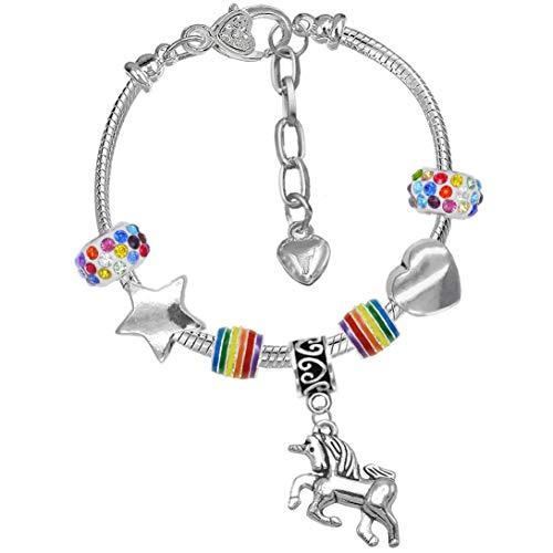 Charm Buddy Charm-Armband mit Glitzerperlen und Einhorn-Motiv, Regenbogenfarben, inkl. Grußkarte in englischer Sprache und Geschenkbox, für Mädchen