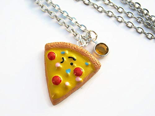 Personalized Pizza Slice Necklace, Birthstone Necklace, Resin Kawaii Pendant, Foodie Pepperoni...