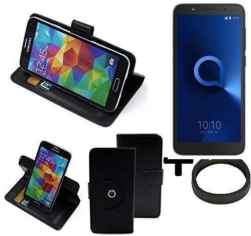 K-S-Trade® Case Schutz Hülle Für -Alcatel 1C Dual SIM- + Bumper Handyhülle Flipcase Smartphone Cover Handy Schutz Tasche Walletcase Schwarz (1x)