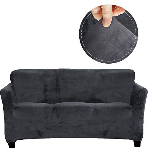 FinerFiber Sofabezug aus Samt, hoher Stretch, trägerlos, 2 Kissen + Bezüge, gratis Sofabezug für Möbel, Couch-Bezüge für 3 Kissen Couchs, luxuriöses Grau und Samt Sofabezug, 2 Kissen