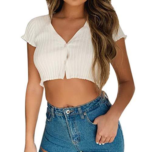Covermason Débardeur Femmes Sexy T-Shirt sans Manches Hauts Col V Boutons côtelés Top Crop Blouse Hauts Mode Été Moulant Serré Tee-Shirt(Blanc,M)