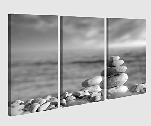 Leinwandbild 3 tlg schwarz weiß Wellness Zen Kat5 Steine Meer Strand Bild Bilder Leinwand Leinwandbilder Holz Wandbild mehrteilig Kunstdruck 9AB248, 3 tlg BxH:120x80cm (3Stk 40x 80cm)
