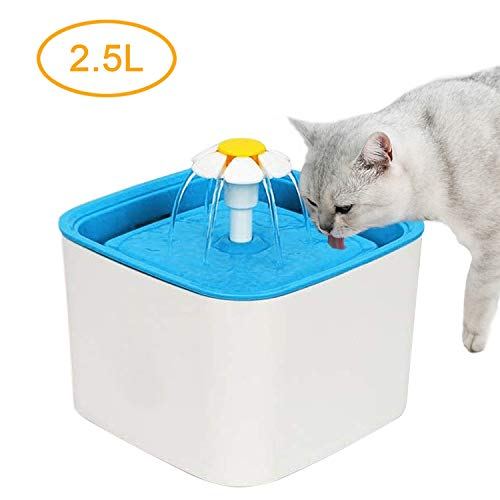 Pet Fountain - 2.5L/84oz Super Quiet Automatic Cat Water Fountain, Healthy and Hygienic Dog Water Dispenser with Replacement Filters for Cats, Dogs, Birds, Pets and Small Animals