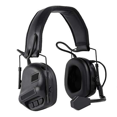 Taktischer Kopfhörer Gehörschutz Kopfhörer Kopfhörer für Military Airsoft Paintball Jagd Aktivitäten-(BK)
