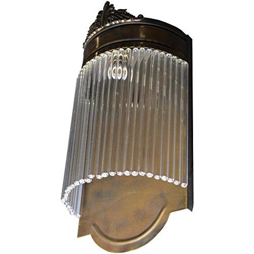 Wandleuchter Wandlampe Glas Messing Jugendstil Lampe Art Deco Glamour Antik 31 x 15 x 8 cm