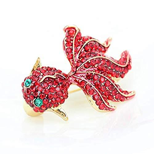 DAGONGREN Broche de Peces de Colores con Diamantes, Escudo y Cardigan con Accesorios, Rojo Decoración Personalizada