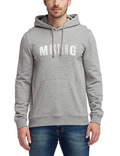 MUSTANG Herren Hoody Kapuzenpullover, Grau (Mid Grey Melange 4140), X-Large